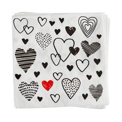 CRAZY LOVE Set de 20 serviettes noir Larg. 33 x Long. 33 cm