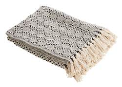 MINA RECYCLED Plaid noir, blanc Larg. 125 x Long. 150 cm