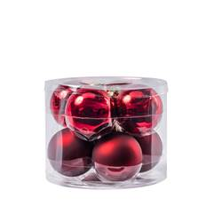 DARK RED Boule de Noël set de 8 rouge Ø 7 cm