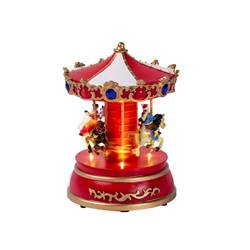 MINI CARROUSEL Décoration de Noël multicolore H 19 x Larg. 13 x P 13 cm