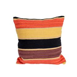 YARO Coussin noir, brun, orange, jaune Larg. 50 x Long. 50 cm
