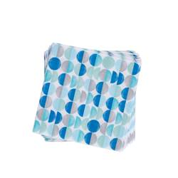 CIRCLES AQUA Set de 20 serviettes bleu Larg. 33 x Long. 33 cm